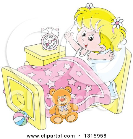 Clipart of a Cartoon Blond White Girl Stretching in Her Bed After Waking up - Royalty Free Vector Illustration by Alex Bannykh