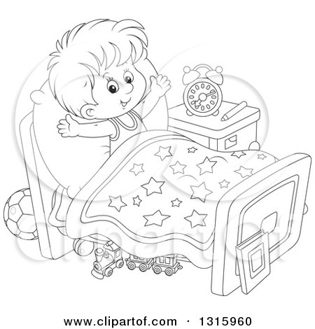 Clipart of a Cartoon White Boy Stretching in Bed After ...Nap Time Clip Art Black And White