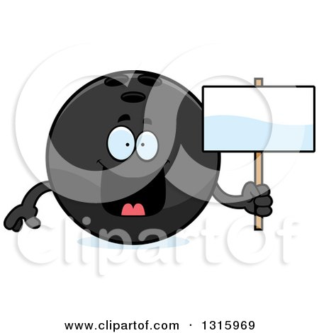 Clipart of a Cartoon Happy Black Bowling Ball Character Holding a Blank Sign - Royalty Free Vector Illustration by Cory Thoman