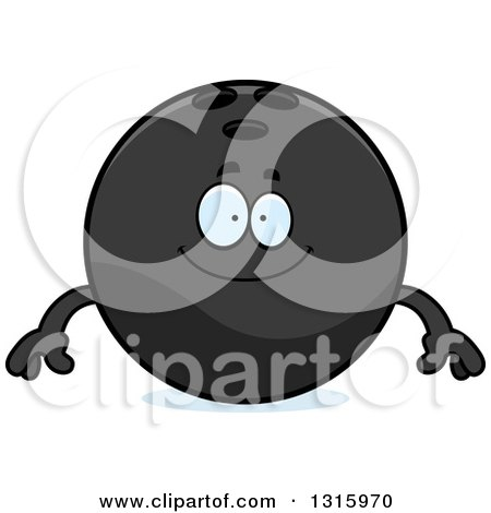 Clipart of a Cartoon Happy Black Bowling Ball Character Smiling - Royalty Free Vector Illustration by Cory Thoman