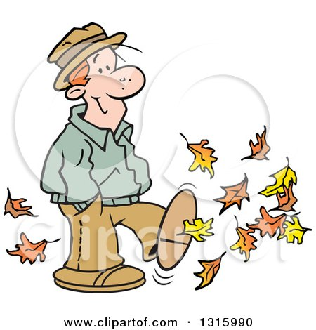 Clipart of a Cartoon Happy Red Haired White Man Kicking up Some Autumn Leaves - Royalty Free Vector Illustration by Johnny Sajem