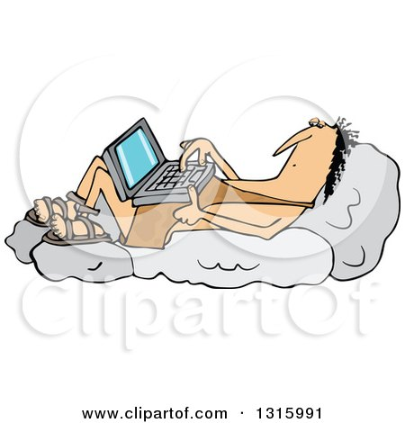 Clipart of a Cartoon Chubby Caveman Reclined on Boulders and Using a Laptop Computer - Royalty Free Vector Illustration by djart