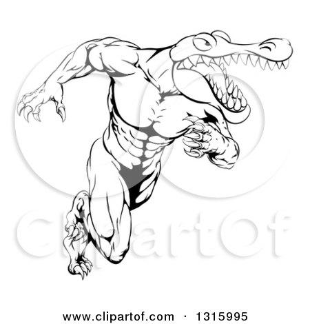 Lineart Clipart of a Black and White Tough Muscular Alligator Man Running Upright - Royalty Free Outline Vector Illustration by AtStockIllustration