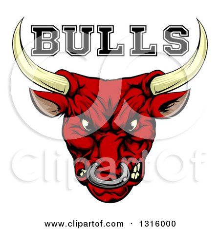 Clipart of a Mad Snarling Red Bull Mascot Head and Text - Royalty Free Vector Illustration by AtStockIllustration
