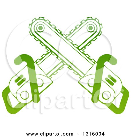 Clipart of Gradient Green Crossed Chainsaws - Royalty Free Vector Illustration by AtStockIllustration