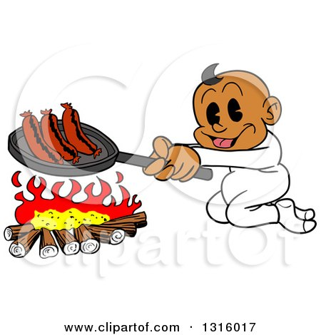 Clipart of a Cartoon Black Baby Boy Cooking Sausages over a Camp Fire - Royalty Free Vector Illustration by LaffToon