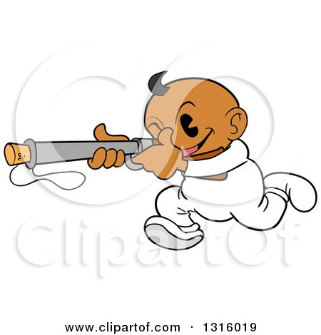 Clipart of a Cartoon Black Baby Boy Running and Aiming a Popgun Rifle - Royalty Free Vector Illustration by LaffToon