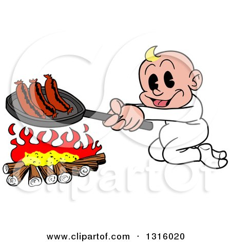 Clipart of a Cartoon White Baby Boy Cooking Sausages over a Camp Fire - Royalty Free Vector Illustration by LaffToon