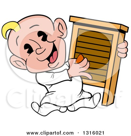 Clipart of a Cartoon White Baby Boy Sitting and Playing a Washboard like an Instrument - Royalty Free Vector Illustration by LaffToon