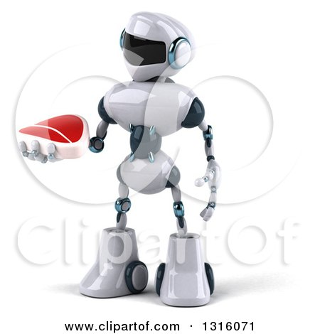 Clipart of a 3d White and Blue Robot Holding and Looking at a Beef Steak - Royalty Free Illustration by Julos