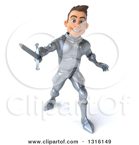 Clipart of a 3d Caucasian Male Armored Knight Fighting with a Sword - Royalty Free Illustration by Julos