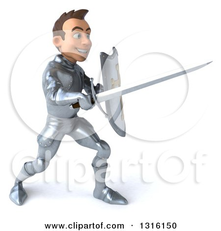Clipart of a 3d Caucasian Male Armored Knight Facing Right and Fighting with a Sword - Royalty Free Illustration by Julos