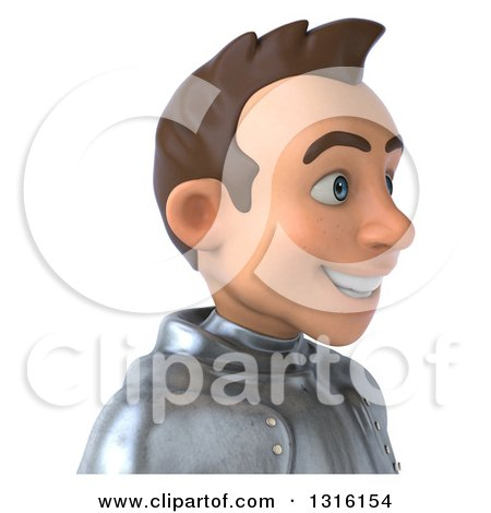 Clipart of a 3d Caucasian Male Armored Knight Avatar, Facing Right - Royalty Free Illustration by Julos