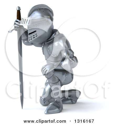 Clipart of a 3d Armored Knight Kneeling, Facing Left ...
