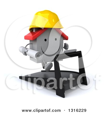 Clipart of a 3d Happy White House Character Contractor Running on a Treadmill, Facing Right 2 - Royalty Free Illustration by Julos