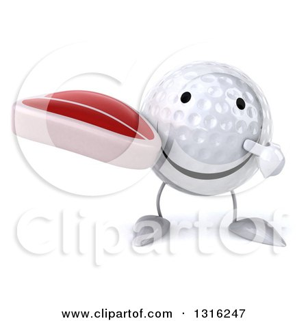 Clipart of a 3d Happy Golf Ball Character Holding and Pointing to a Beef Steak - Royalty Free Illustration by Julos