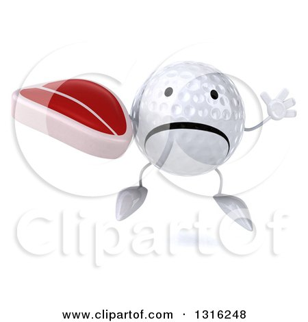 Clipart of a 3d Unhappy Golf Ball Character Jumping and Holding a Beef Steak - Royalty Free Illustration by Julos