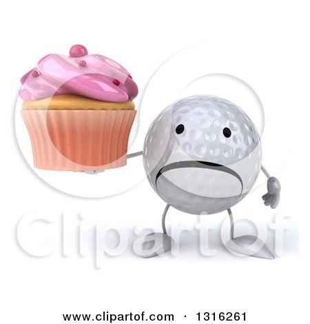 clipart of a 3d unhappy golf ball character holding a pink frosted