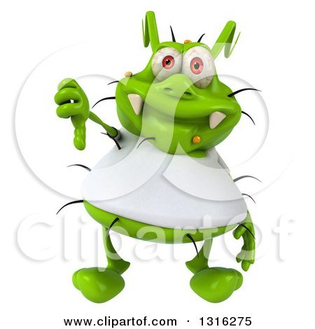 Clipart of a 3d Green Germ Virus Wearing a White T Shirt and Giving a Thumb down - Royalty Free Illustration by Julos