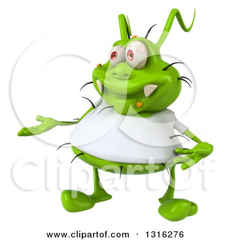 Clipart of a 3d Green Germ Virus Wearing a White T Shirt, Presenting - Royalty Free Illustration by Julos