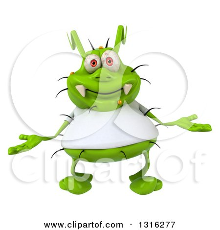 Clipart of a 3d Green Germ Virus Wearing a White T Shirt, Welcoming - Royalty Free Illustration by Julos