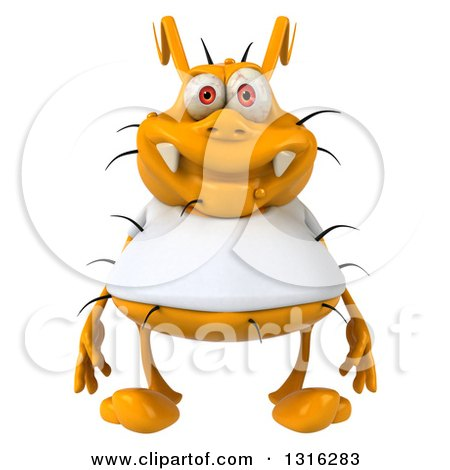 Clipart of a 3d Yellow Germ Wearing a White Tee Shirt - Royalty Free Illustration by Julos