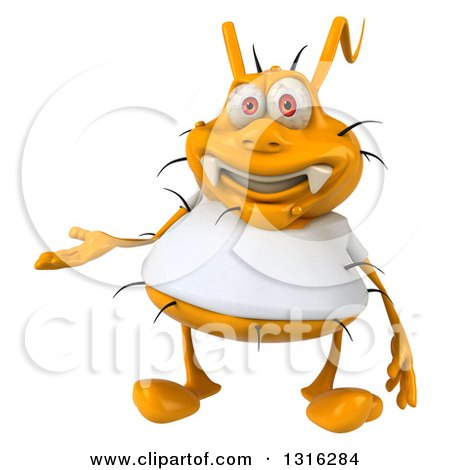 Clipart of a 3d Yellow Germ Wearing a White Tee Shirt, Presenting - Royalty Free Illustration by Julos