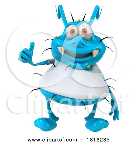 Clipart of a 3d Blue Germ Virus Wearing a White T Shirt and Giving a Thumb up - Royalty Free Illustration by Julos