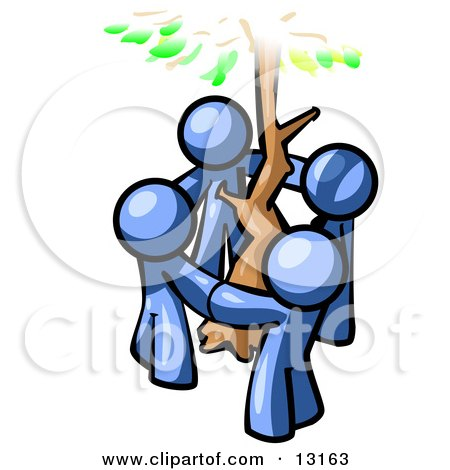 Group of 4 Blue Man Standing in a Circle Around a Tree Clipart Illustration by Leo Blanchette