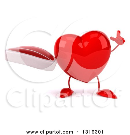 Clipart of a 3d Heart Character Holding up a Beef Steak and a Finger - Royalty Free Illustration by Julos
