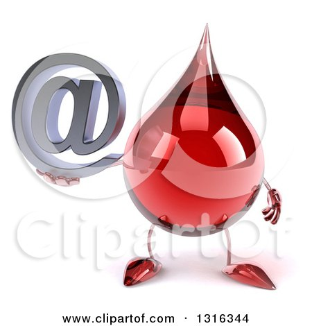 Clipart of a 3d Hot Water or Blood Drop Character Holding an Email Arobase at Symbol - Royalty Free Illustration by Julos