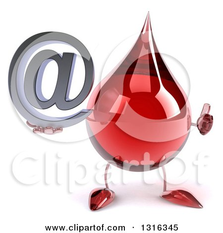 Clipart of a 3d Hot Water or Blood Drop Character Holding a Thumb up and an Email Arobase at Symbol - Royalty Free Illustration by Julos