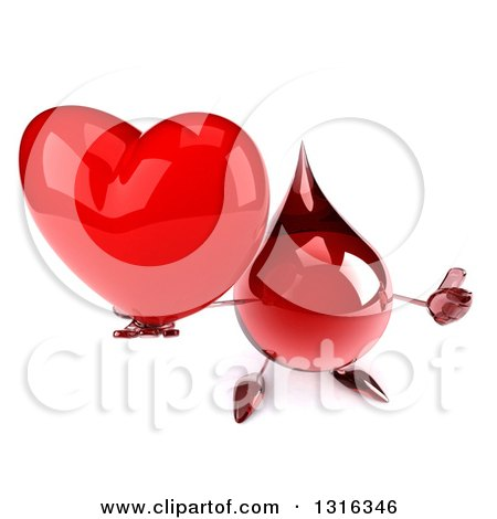 Clipart of a 3d Hot Water or Blood Drop Character Holding up a Heart and Thumb - Royalty Free Illustration by Julos
