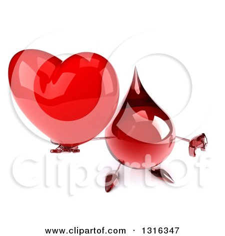 Clipart of a 3d Hot Water or Blood Drop Character Holding up a Heart and Thumb down - Royalty Free Illustration by Julos