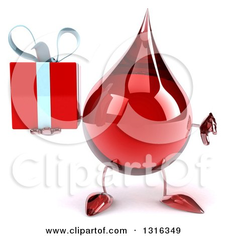 Clipart of a 3d Hot Water or Blood Drop Character Holding a Thumb down and a Gift - Royalty Free Illustration by Julos