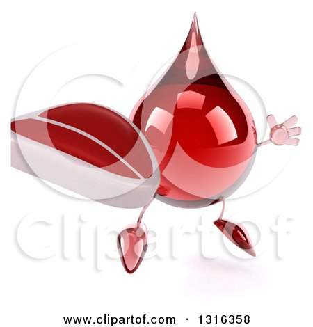 Clipart of a 3d Hot Water or Blood Drop Character Facing Slightly Right, Jumping and Holding a Beef Steak - Royalty Free Illustration by Julos
