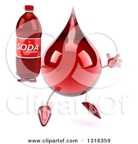 Clipart of a 3d Hot Water or Blood Drop Character Facing Slightly Right, Jumping and Holding a Soda Bottle - Royalty Free Illustration by Julos