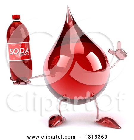 Clipart of a 3d Hot Water or Blood Drop Character Holding up a Finger and a Soda Bottle - Royalty Free Illustration by Julos