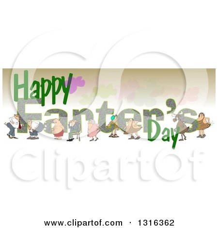 Clipart of Cartoon People Passing Gass over Happy Farters Day Text - Royalty Free Illustration by djart