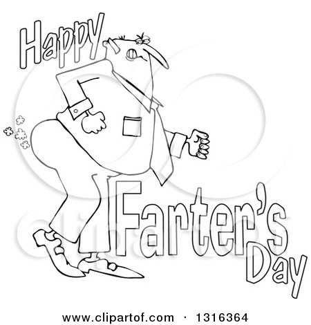 Lineart Clipart of a Cartoon Chubby Father Passing Gas with Happy Farters Day - Royalty Free Outline Vector Illustration by djart
