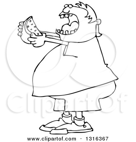 Lineart Clipart of a Cartoon Black and White Chubby Boy Ready to Devour a Watermelon - Royalty Free Outline Vector Illustration by djart