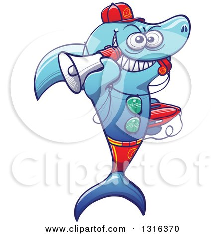 Clipart of a Cartoon Baywatch Lifeguard Shark Blowing a Whistle, Holding a Boogie Board and Megaphone - Royalty Free Vector Illustration by Zooco