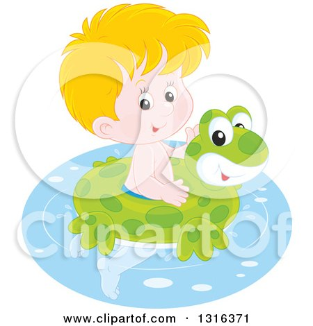 Clipart of a Cartoon Blond Caucasian Boy Swimming with a Frog Inner Tube - Royalty Free Vector Illustration by Alex Bannykh
