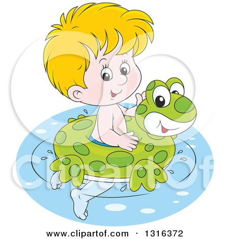 Clipart of a Cartoon Blond White Boy Swimming with a Frog Inner Tube - Royalty Free Vector Illustration by Alex Bannykh