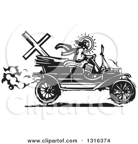 Clipart of a Black and White Woodcut Jesus Christ Driving an Antique Model T Car - Royalty Free Vector Illustration by xunantunich
