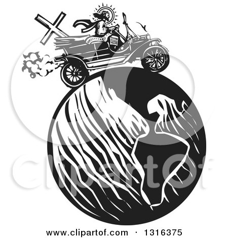 Clipart of a Black and White Woodcut Jesus Christ Driving an Antique Model T Car Around Earth - Royalty Free Vector Illustration by xunantunich