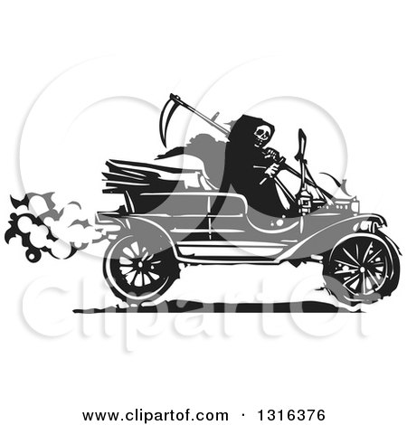 Clipart of a Black and White Woodcut Grim Reaper Driving an Antique Model T Car - Royalty Free Vector Illustration by xunantunich