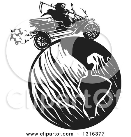 Black and White Woodcut Grim Reaper Driving an Antique Model T Car Around the Globe Posters, Art Prints