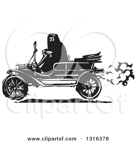Clipart of a Black and White Woodcut Muslim Woman Driving an Antique Model T Car - Royalty Free Vector Illustration by xunantunich