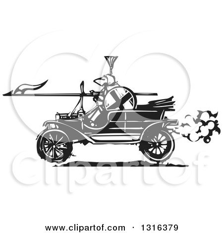 Clipart of a Black and White Woodcut Jousting Knight Holding a Lance and Driving an Antique Model T Car - Royalty Free Vector Illustration by xunantunich